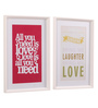 @ Home Canvas & Wood 21.7 x 1.8 x 14.6 Inch Pink Modern Sayings Framed Painting - Set of 2