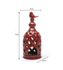 @ Home Red Ceramic Bird Cage Maroon Candle Holder