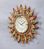 999Store Multicolour Wooden 17 Inch Round Royal Hand Crafted Antique Sun Clock
