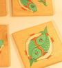 Aamori Pattachitra Hand Painted Green Fish Brown Wooden Coasters - Set of 4