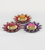 Aapno Rajasthan Multicolour Wax Big Floral Shape Floating Candles - Set of 3