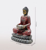 Aapno Rajasthan Red & Grey Resin Sitting Buddha Showpiece