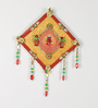 Aapno Rajasthan Red & Yellow Wooden Wall Hanging with Ganesh Motif