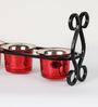 Aapno Rajasthan Red Metal & Glass Beautiful Tea Light Holder with Stand - Set of 6