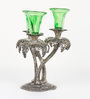 Aapno Rajasthan Silver & Green Metal & Glass Palm Tree Design Candle Holder with Glass