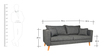 Acadia Three Seater Sofa in Grey Color by Furny