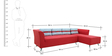 Adelia LHS Three Seater Sofa with Lounger in Crimson Red Colour by CasaCraft