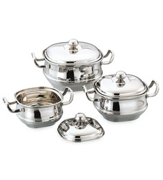 Airan Stainless Steel Hard Anodized Square Handi - Set Of 3