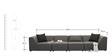 Alia Modular Gray Sectional 2 Corner + 1 + 1 Seater Sofa Set by Furny