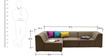 Alia Modular Sofa Sectional (2 Corner + 1 + 1 Seater) in Dark Camel Colour by Furny