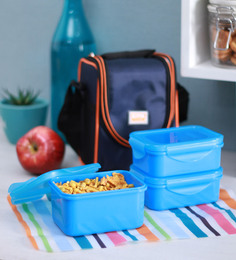 All Time 9302 Food Gear Blue Plastic Lunch Box - Set Of 3