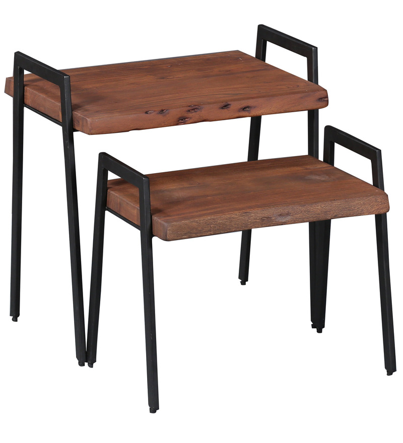 Buy yatela solid wood set of two tables in premium acacia for Table queens acacia
