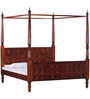 Alara Queen Size Poster Bed in Honey Oak Finish by Mudramark