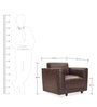 Alfred One Seater Sofa in Brown Colour by Durian