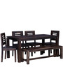 Alicante Ivy Six Seater Dining with Bench in Provincial Teak Finish by Woodsworth