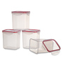 All Time Transparent Rectangle 1L Lock & Safe Container - Set of 4