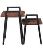 Kiaka Solid Wood Set Of Two Tables in Premium Acacia Finish with Metal by Bohemiana