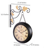 Anantaran Black Iron Vintage Chain Station Clock Two Sided Wall Clock
