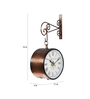 Anantaran Copper Metal 11 x 6 x 16 Inch Handmade Carving Imperial Two Side Station Wall Clock