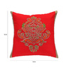 ANS Red Polyester 16 x 16 Inch Ornamental Big Embroidered Cushion Cover