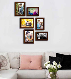 Art Street Brown Fibre Wood Decorous Individual Wall Photo Frame - Set Of 6