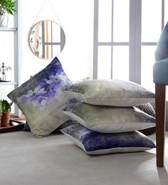Artesano Multicolour Velvet 16 X 16 Inch The Blue Lilly Cushion Cover - Set Of 5