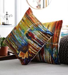 Artesano Multicolour Velvet 16 X 16 Inch The Umbrella Cushion Cover - Set Of 2