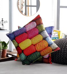 Artesano Multicolour Velvet 16 X 16 Inch The Wool Roll Cushion Cover - Set Of 2