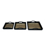 Art Creation Multicolour MDF & Brass Decorative Tray - Set of 3