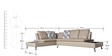 Aster Corner Sofa Set (3 + 2 ) Seater with Lounger in Grey Colour by Royal Oak