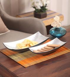 Asian Artisans Vietnamese Silver Wood & Lacquer Coating Long Rectangle Bowl - Set Of 2
