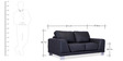 Atlanta Two Seater Sofa in Jet Black Colour by Durian