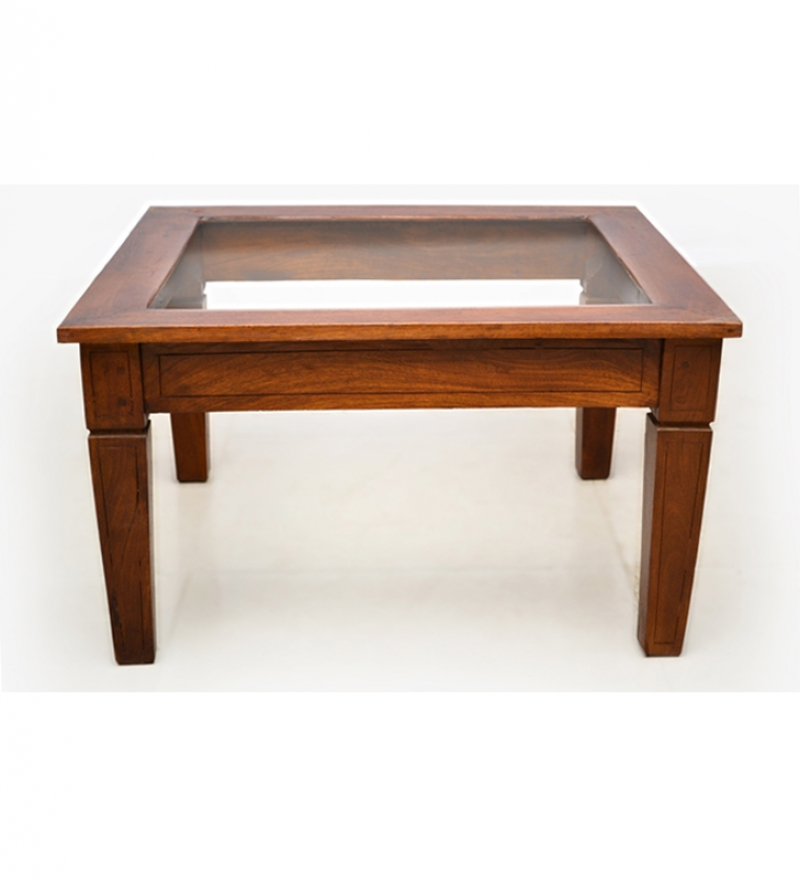 Attractive Glass Top Coffee Table In Mango Wood By Mudramark Online Coffee Centre Tables