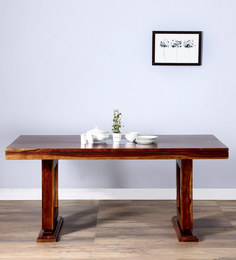 Stockton 6 Seater Dining Table With Glass In Provincial Teak Finish By Woodsworth