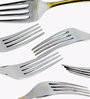 Awkenox Feather Stainless Steel Dessert Forks - Set of 6 (Model: A - Feather002-Df-006)