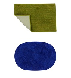 Azaani Micro Olive Green & Blue 2-piece Bathmat Set