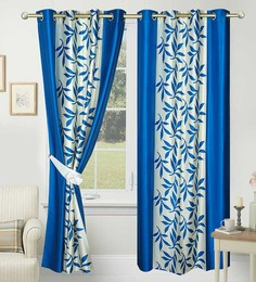 Azaani Blue Leafs Eyelet Door Curtain