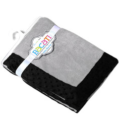 Bacati Solid Grey With Black Border Baby Blanket