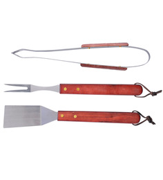 Barbeque Tool Set - Tong, Fork & Turner (Pack Of 3) By GodsKitchen