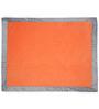 Bacati Solid Orange with Grey Border Baby Blanket