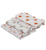 Bacati Sports Baseball Swaddling Muslin Blanket in Orange & Grey (Set of 4)