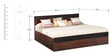 Belda Z Queen Bed with Box Storage in High Gloss Zebrano & Acacia Dark Matt Finish by Debono