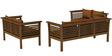 Belmond Teak Wood (3+2+2) Sofa Set in Walnut Finish by CasaTeak