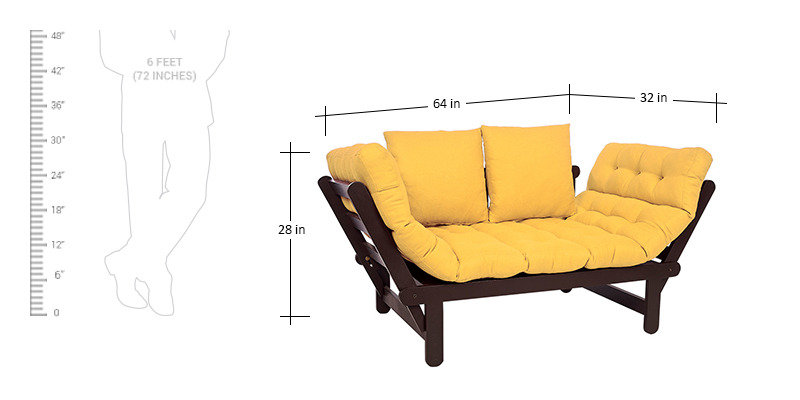Buy Beat Futon With Yellow Mattress By ARRA Online