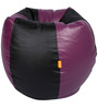 Bean Bag in Purple & Black Colour (Filled with Beans) in XXXL Size by Orka