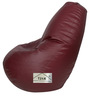 Bean Bag with Beans in Maroon Leatherette by TJAR