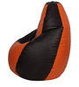 Bean Bag with Beans in Orange & Black Leatherette by TJAR