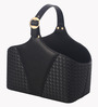 Belmun Leatherette Black 5 L Woven Pattern Storage Basket