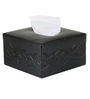 Belmun Smooth 3 Petal Floral Embossed Square Black Leatherette Tissue Box