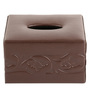 Belmun Smooth 3 Petal Floral Embossed Square Brown Leatherette Tissue Box